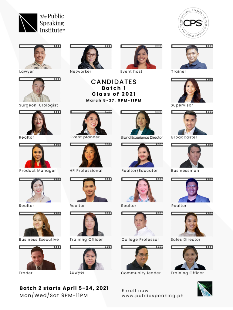 Certified Public Speakers Batch 1 - Candidates